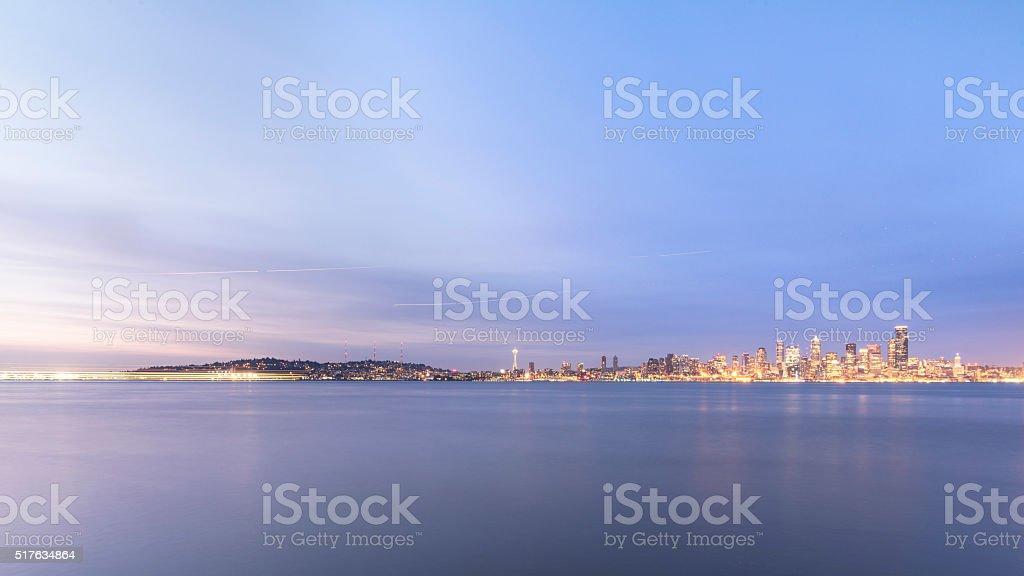 seattle skyline, puget sound, alki beach, Seattle, usa stock photo