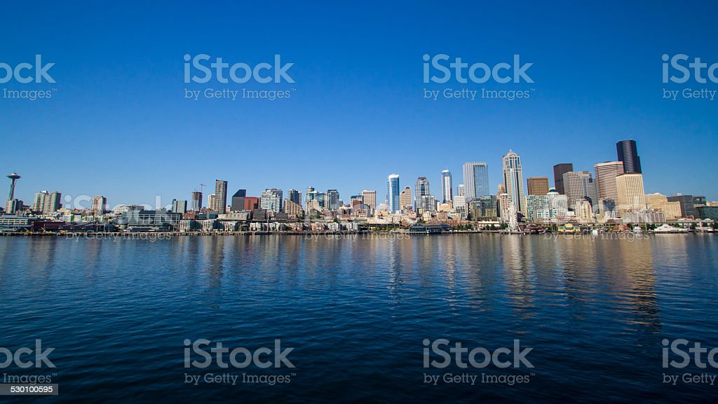 Seattle Skyline Reflected in Elliott Bay royalty-free stock photo