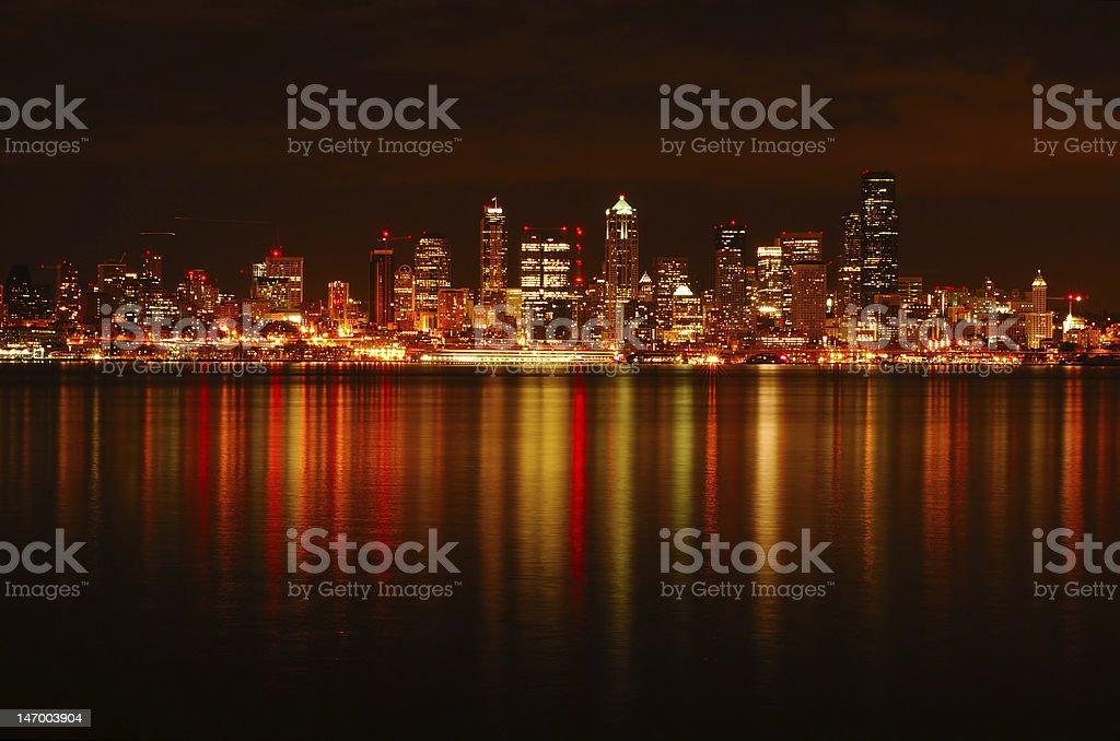 Seattle Skyline Reflected royalty-free stock photo