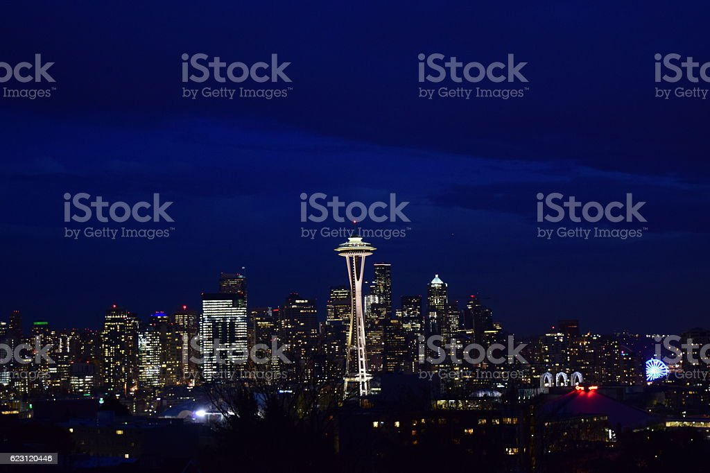 Seattle Skyline right after sunset stock photo