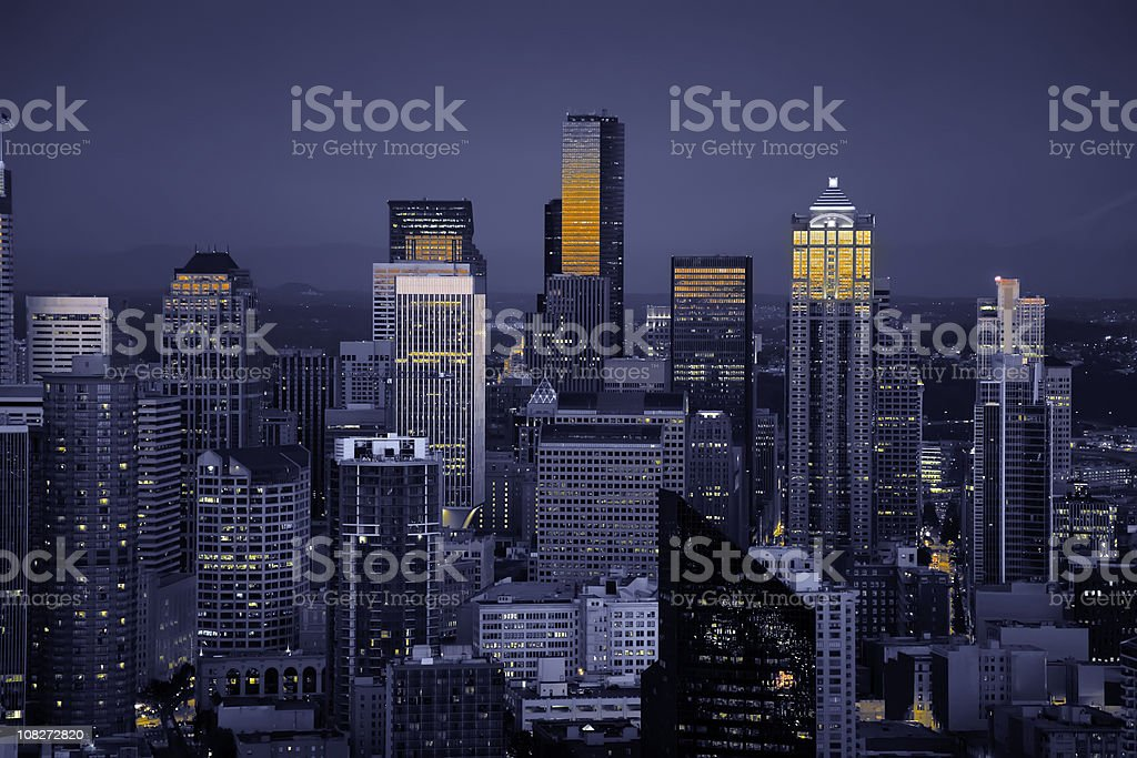 Seattle Skyline Sunset in Blue (XL) royalty-free stock photo