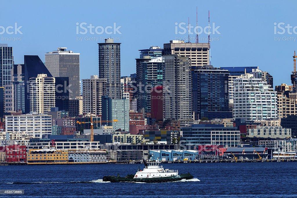 Seattle Skyline Tugboat Puget Sound Washington royalty-free stock photo