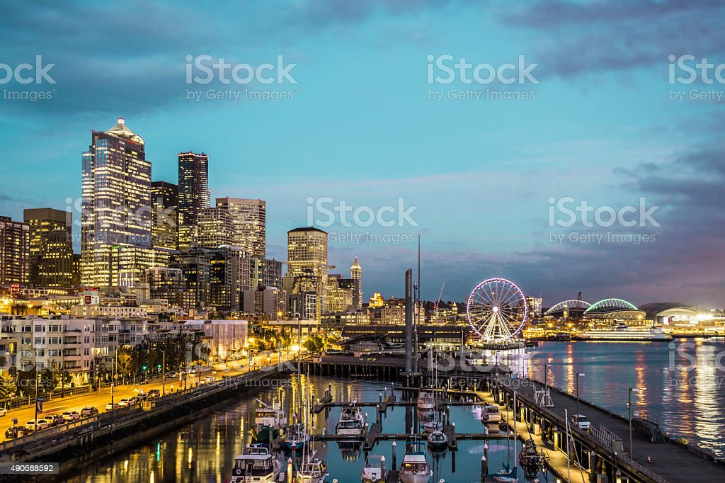 Seattle skyline, waterfront stock photo