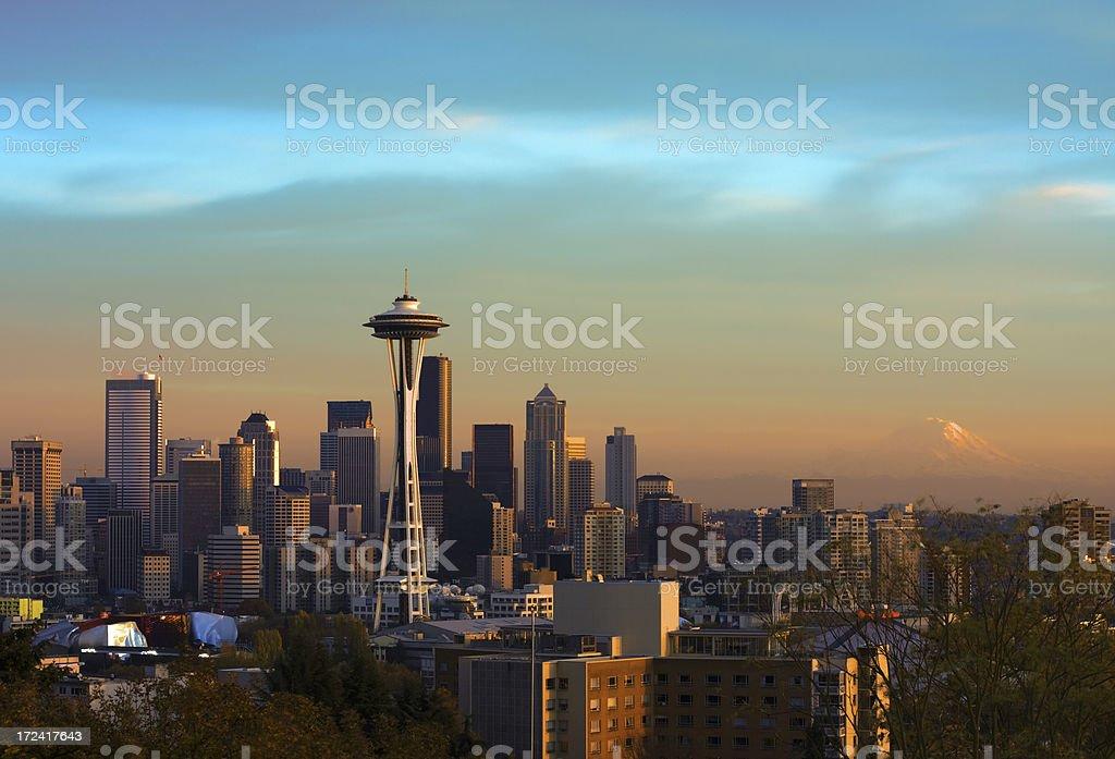 seattle skyline with mt rainier royalty-free stock photo
