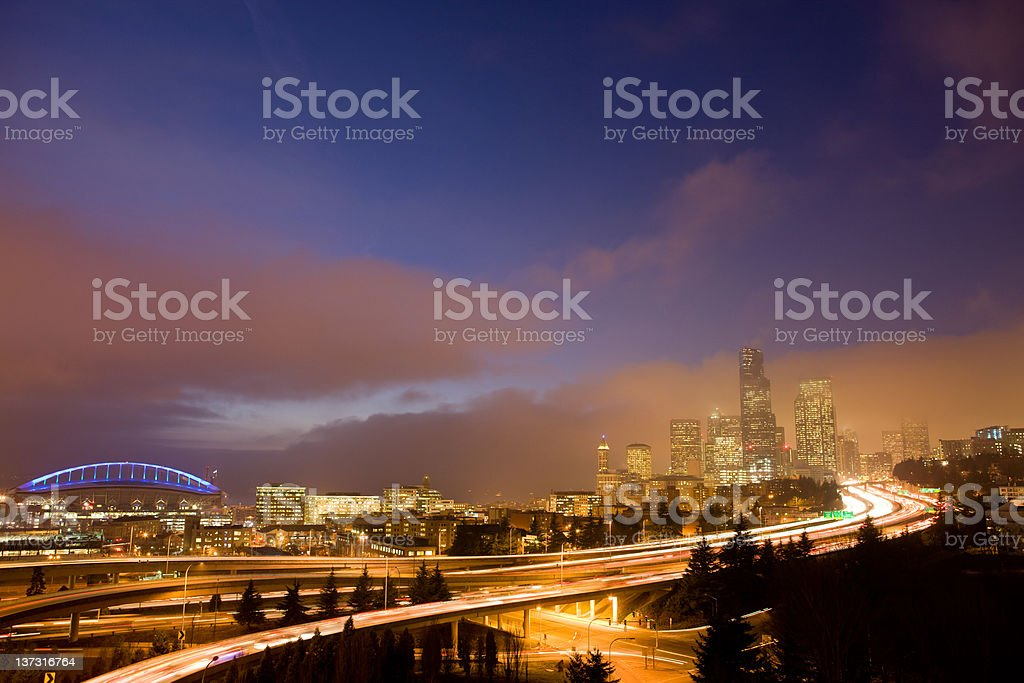 Seattle Skyline With Qwest Field stock photo