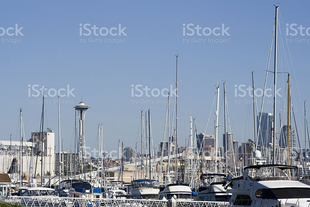 Seattle Skyline with Space Needle, Marina View royalty-free stock photo