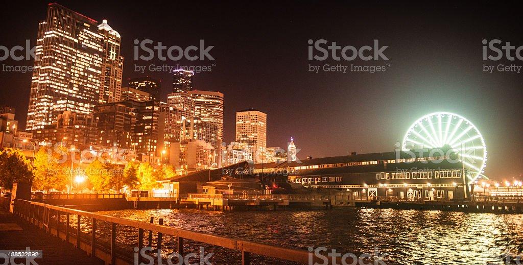Seattle skyline with the marina stock photo