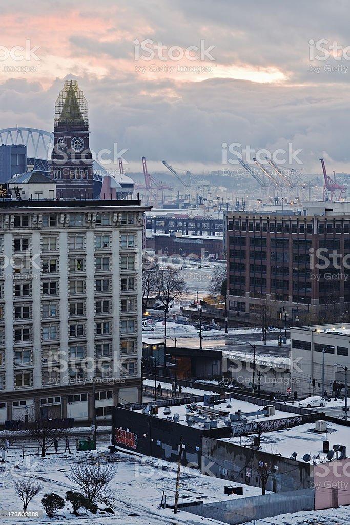 Seattle Snow Cityscape stock photo