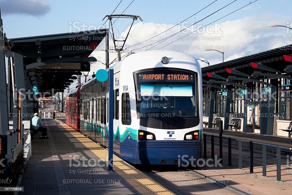 Seattle sound transit light rail system stock photo