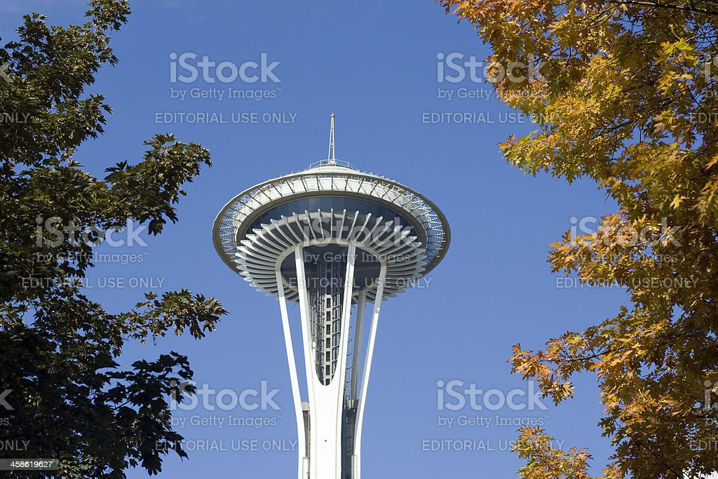 Seattle Space Needle in Autumn royalty-free stock photo