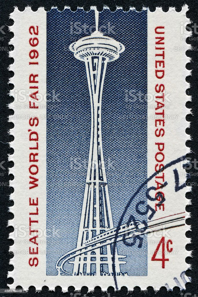 Seattle Space Needle Stamp stock photo