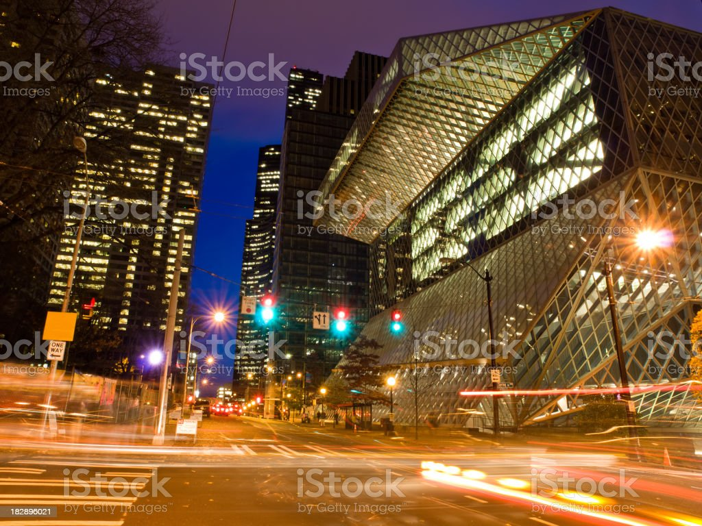Seattle street scene at night royalty-free stock photo