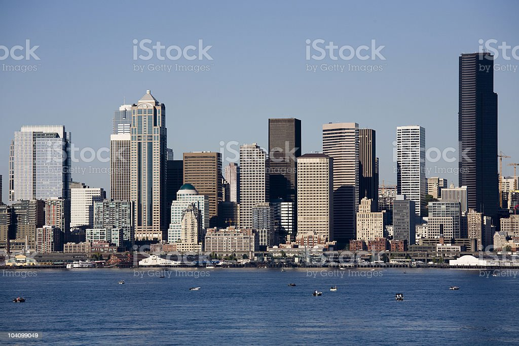 Seattle Summer Skyline and Puget Sound Harbor royalty-free stock photo