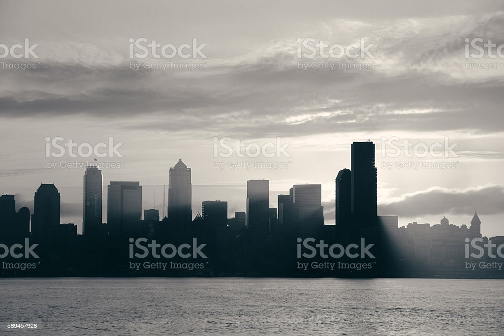 Seattle sunrise stock photo