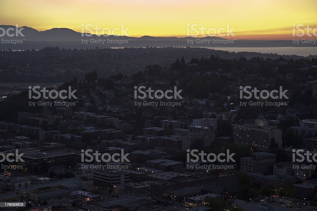 Seattle Sunset over the Puget Sound (XXXL) royalty-free stock photo