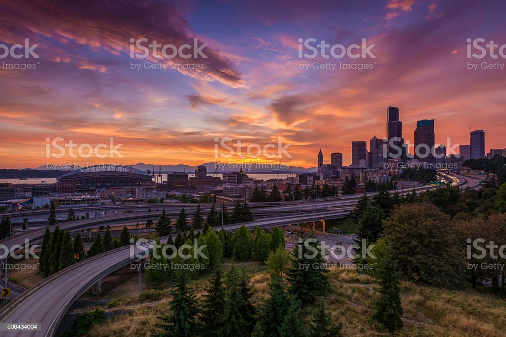Seattle Sunset stock photo