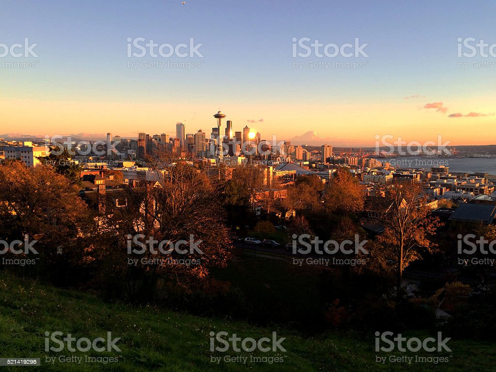 Seattle Sunset royalty-free stock photo