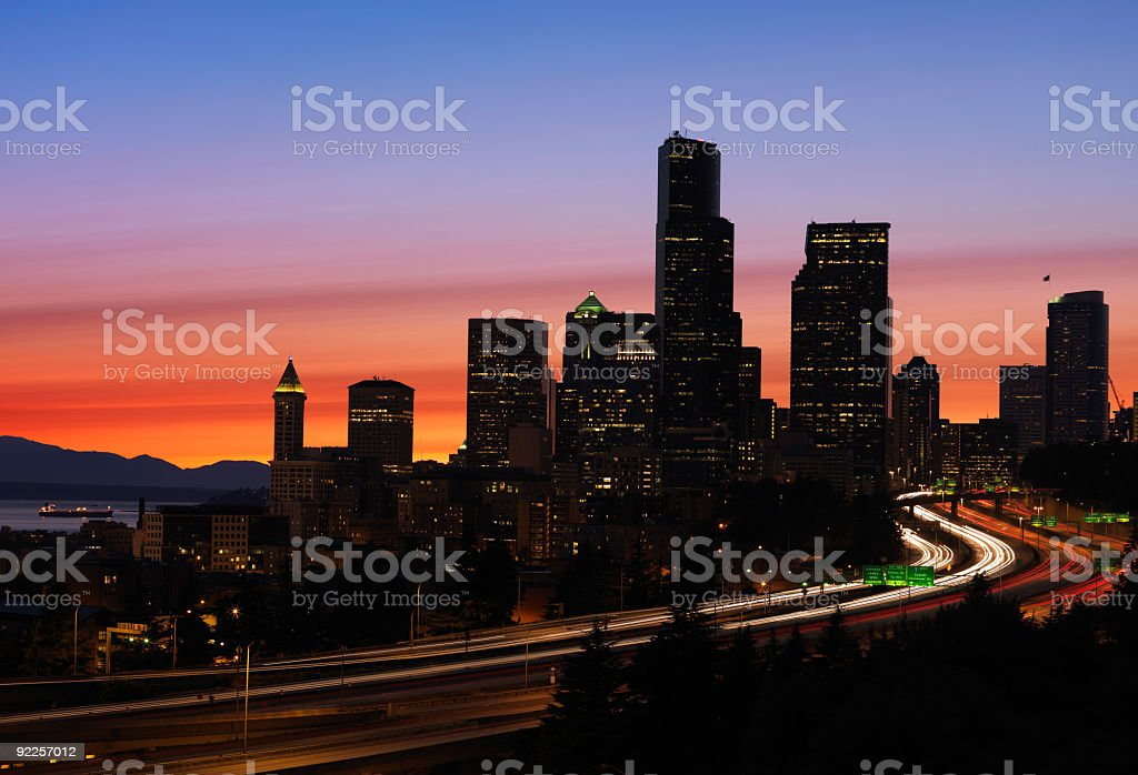 Seattle sunset skyline royalty-free stock photo