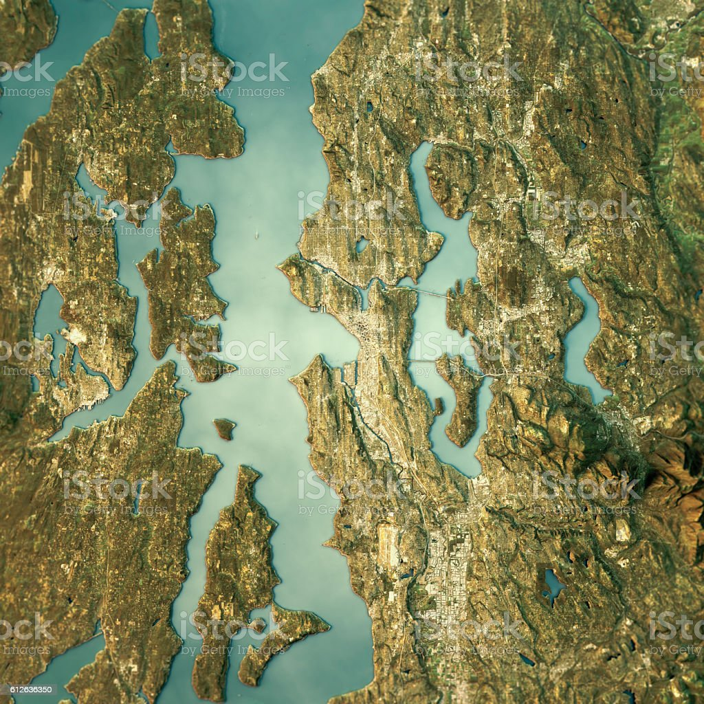 Seattle Topographic Map Natural Color Top View stock photo