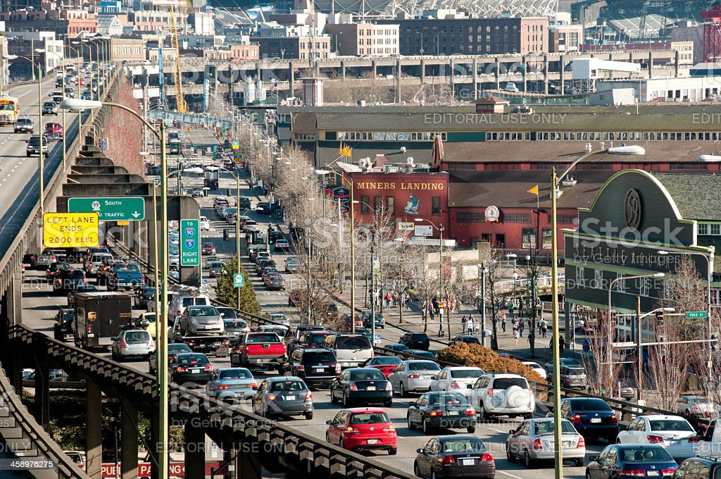 Seattle Viaduct Rush Hour stock photo