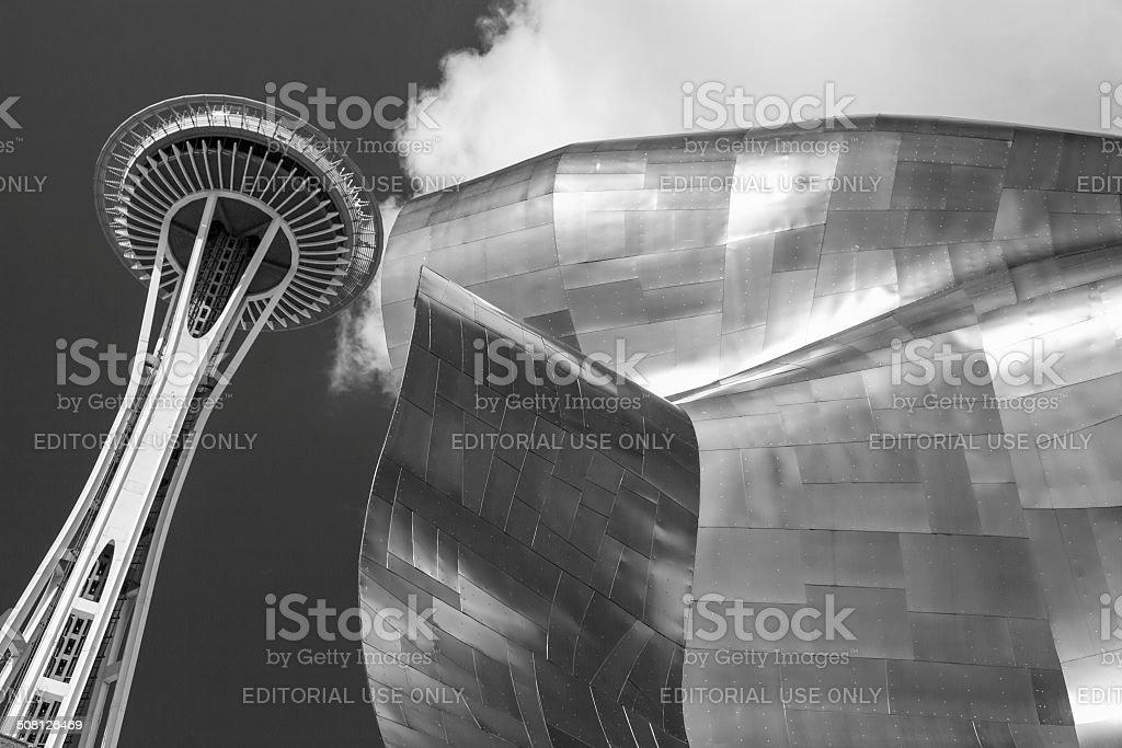 Seattle, WA - EMP Museum and Space Needle stock photo