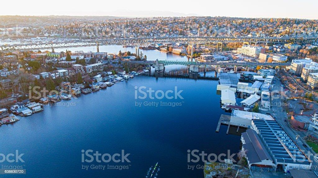 Seattle, WA - Portage Bay Lake Washington, Aurora Bridge stock photo