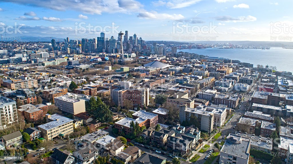 Seattle, Wa USA Cityscape Aerial Panoramic View stock photo