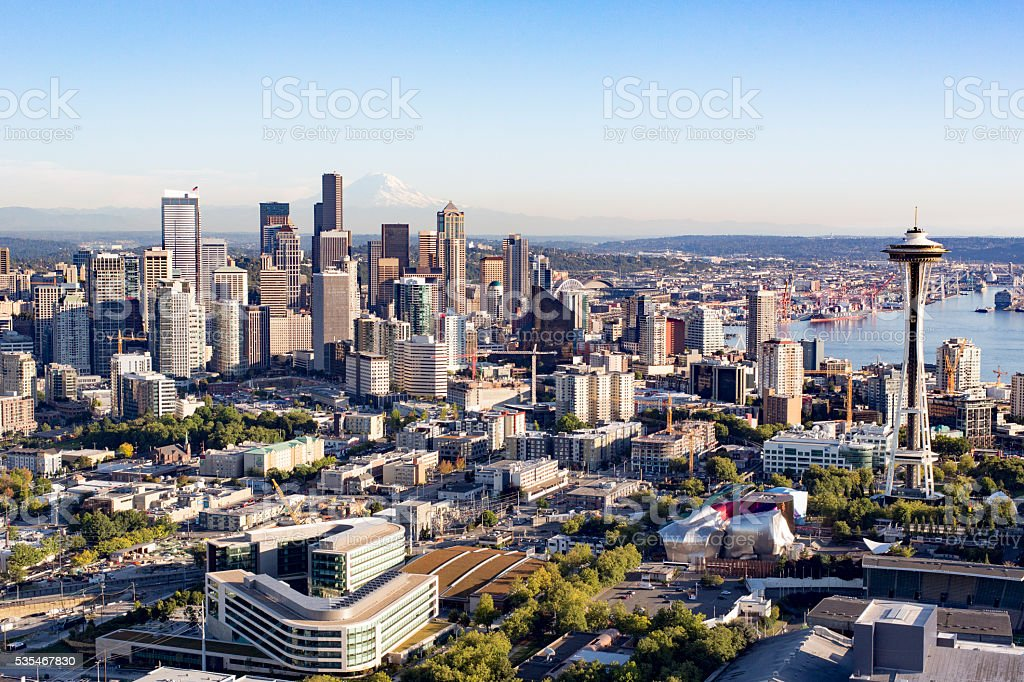 Seattle, Washington, America City Aerial View Modern Metropolis Skyline Buildings stock photo