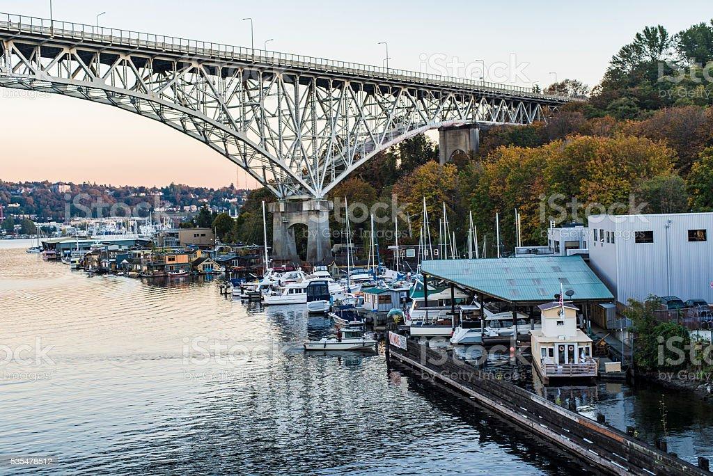 Seattle, Washington Aurora Bridge and Houseboats Lake Union Sunset stock photo