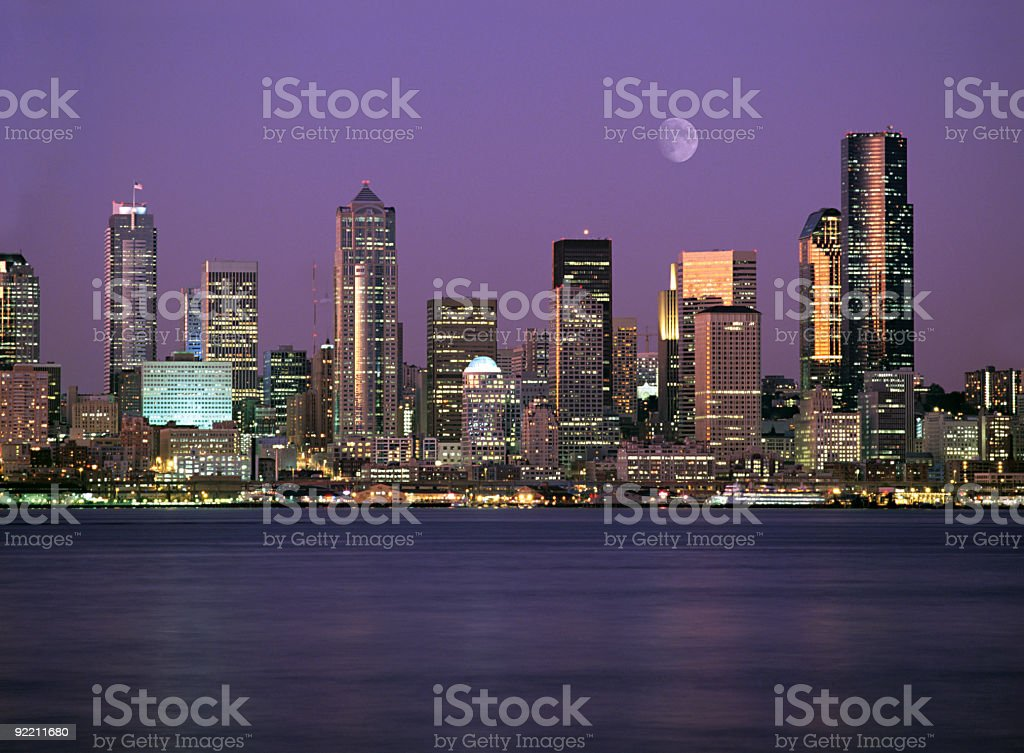 Seattle Washington City Skyline at Night stock photo