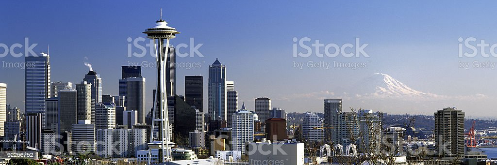 Seattle Washington City Skyline wide panoramic stock photo