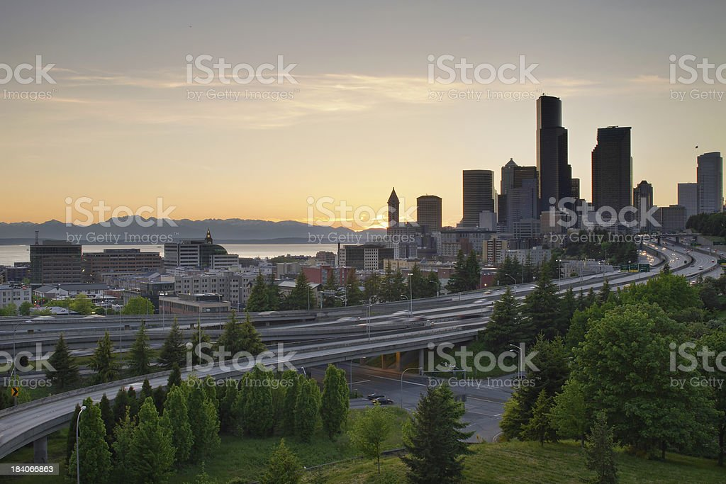 Seattle Washington Downtown City Sunset royalty-free stock photo