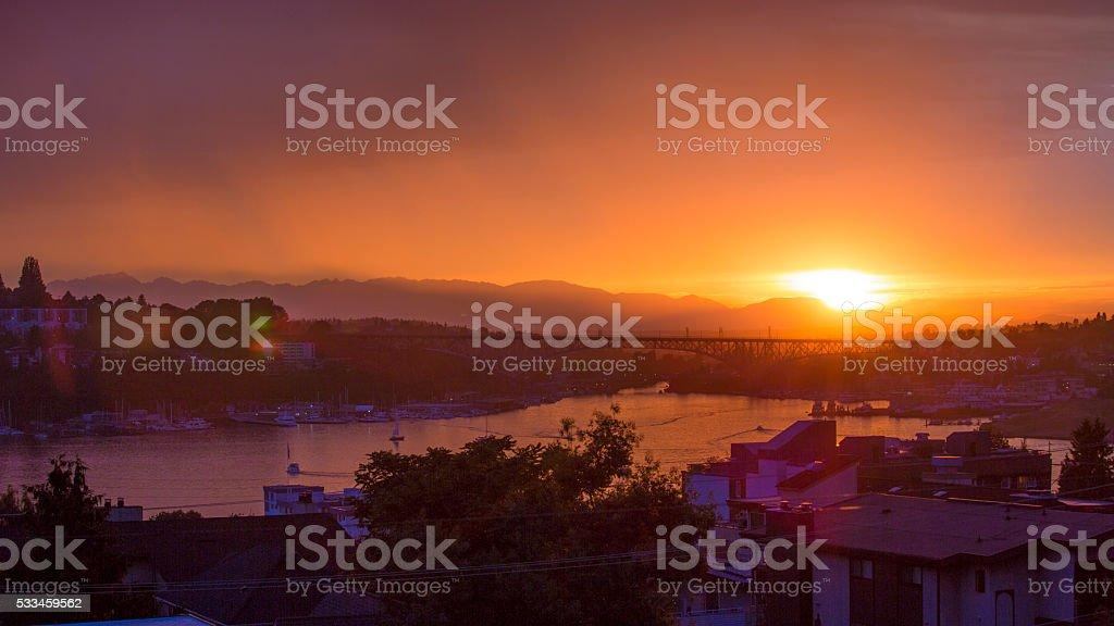 Seattle, Washington Lake Union Fire Orange Sunset stock photo