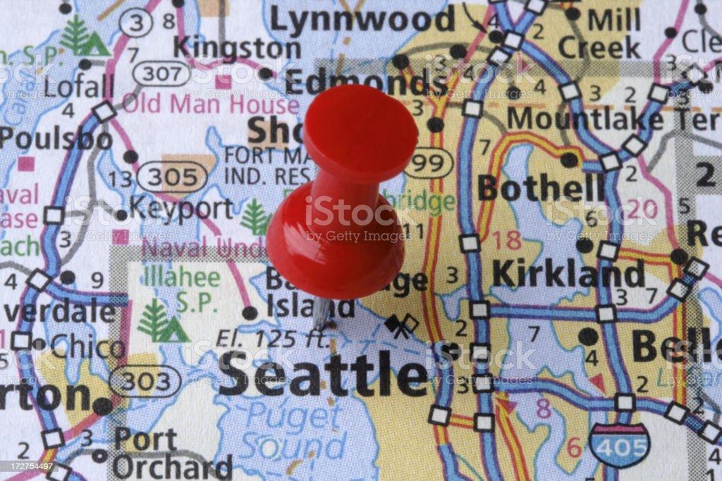 Seattle, Washington on a map royalty-free stock photo
