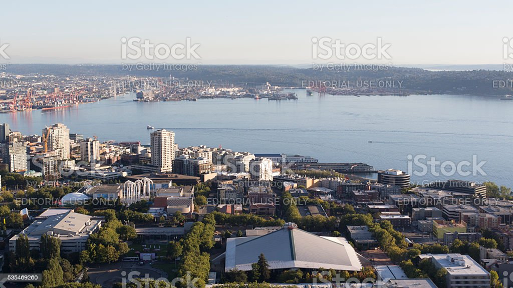 Seattle, Washington Urban Downtown City Aerial Panoramic View stock photo