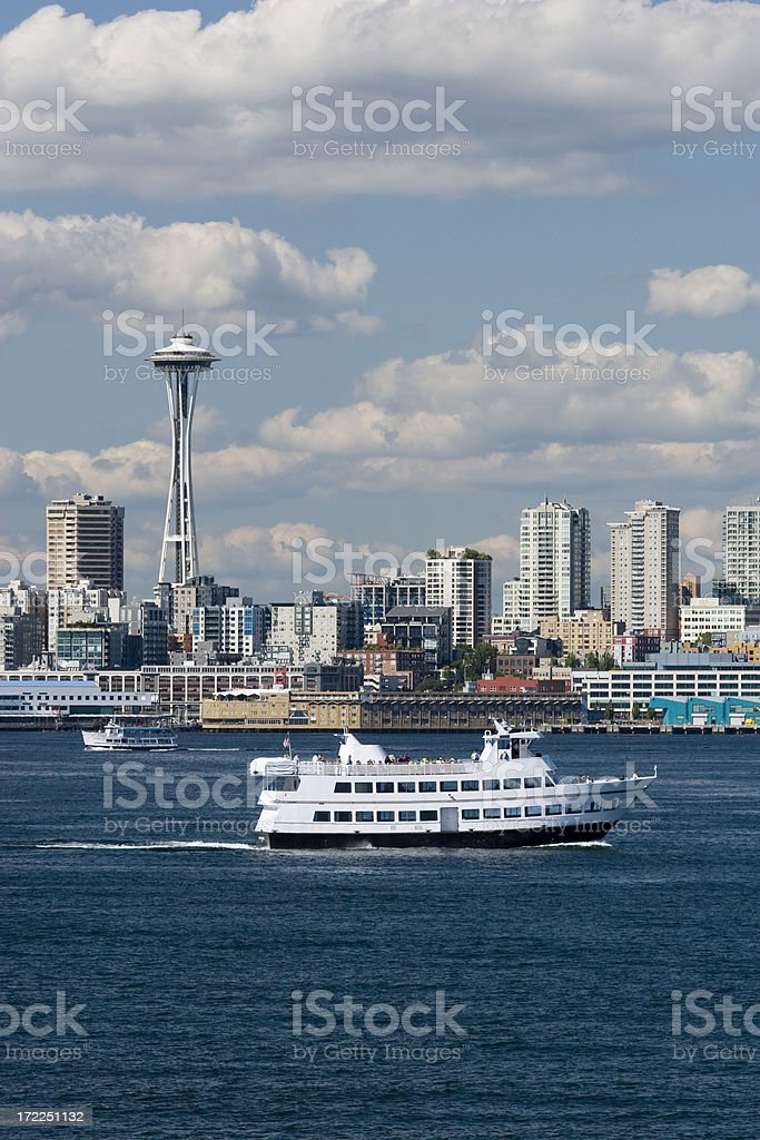 Seattle Waterfront and Siteseeing Boat royalty-free stock photo
