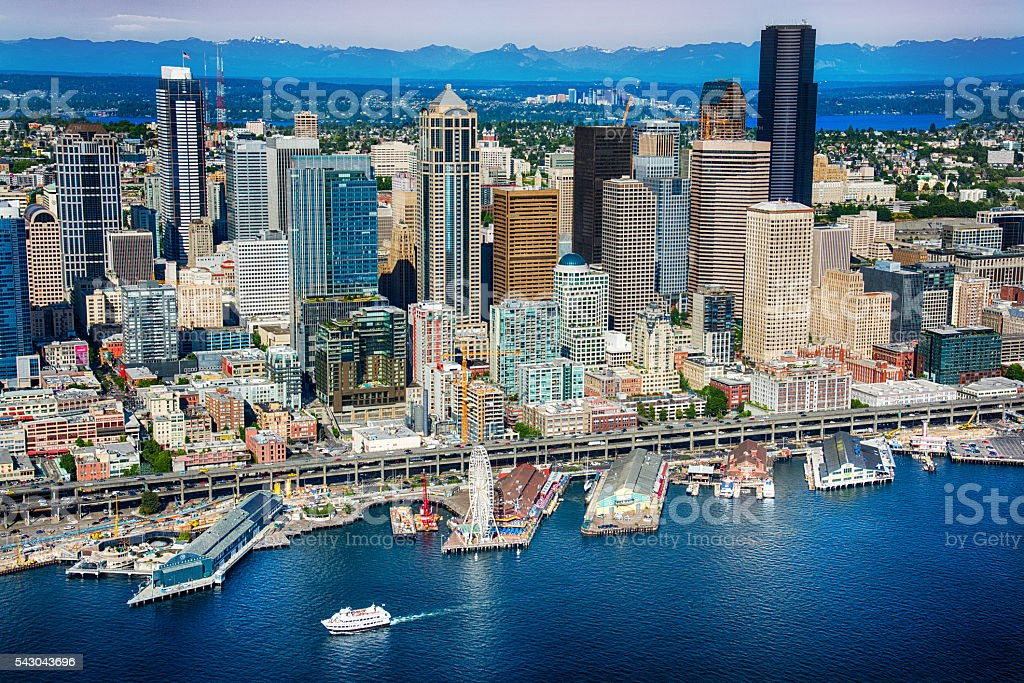 Seattle Waterfront and Skyline Aerial View stock photo