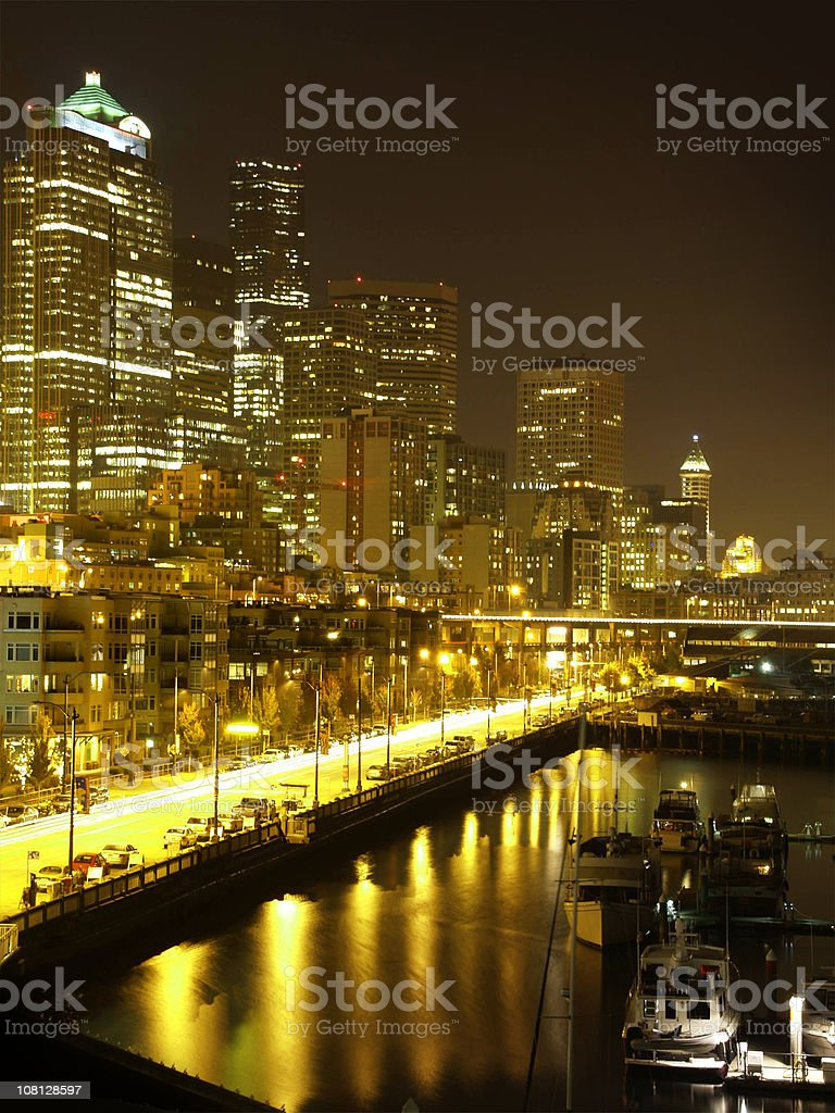 Seattle Waterfront at Night royalty-free stock photo