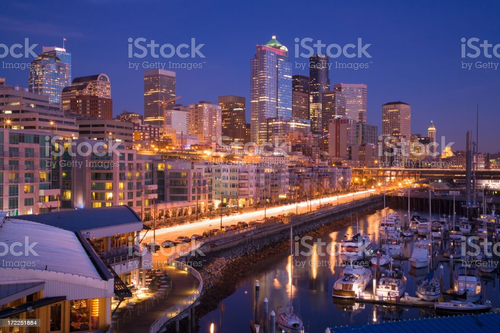 Seattle Waterfront Evening royalty-free stock photo