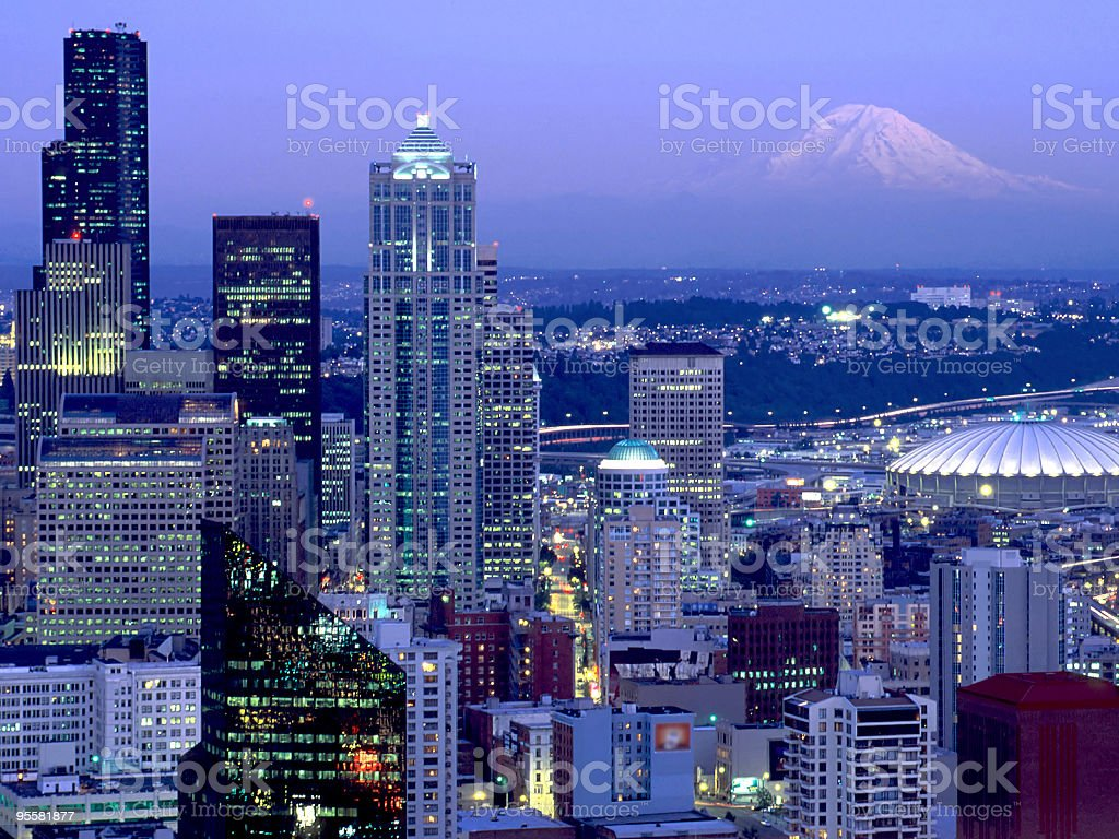 seattle with mt. rainier royalty-free stock photo