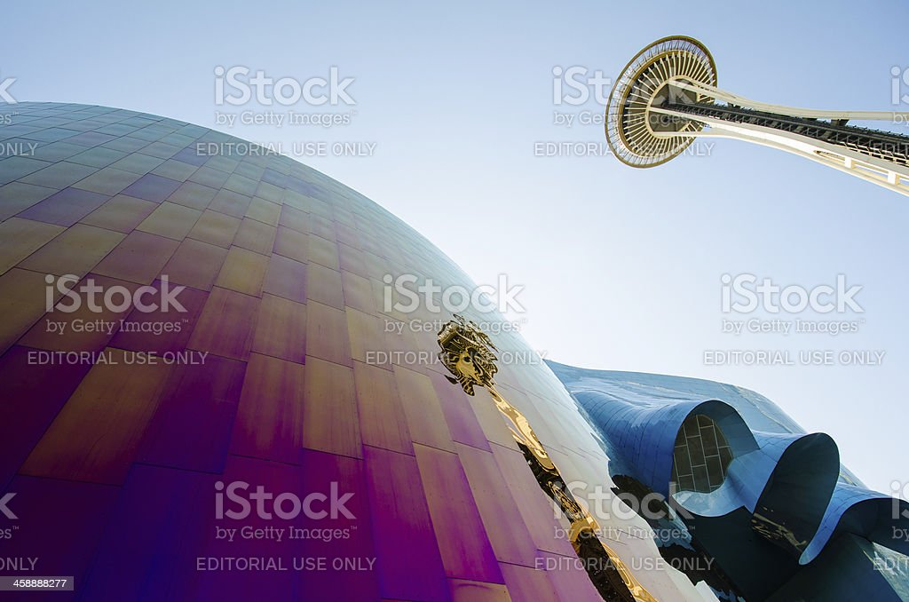 Seattle's Space Needle is reflected on the EMP Museum stock photo