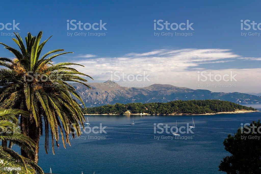 Seaview at Corfu stock photo