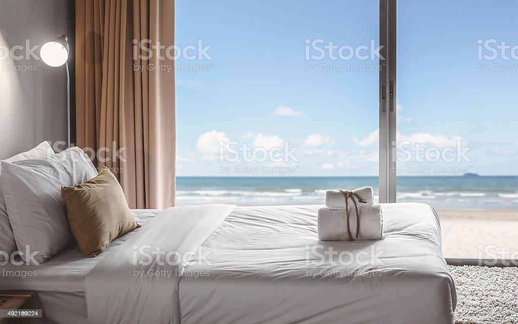 seaview bedroom stock photo