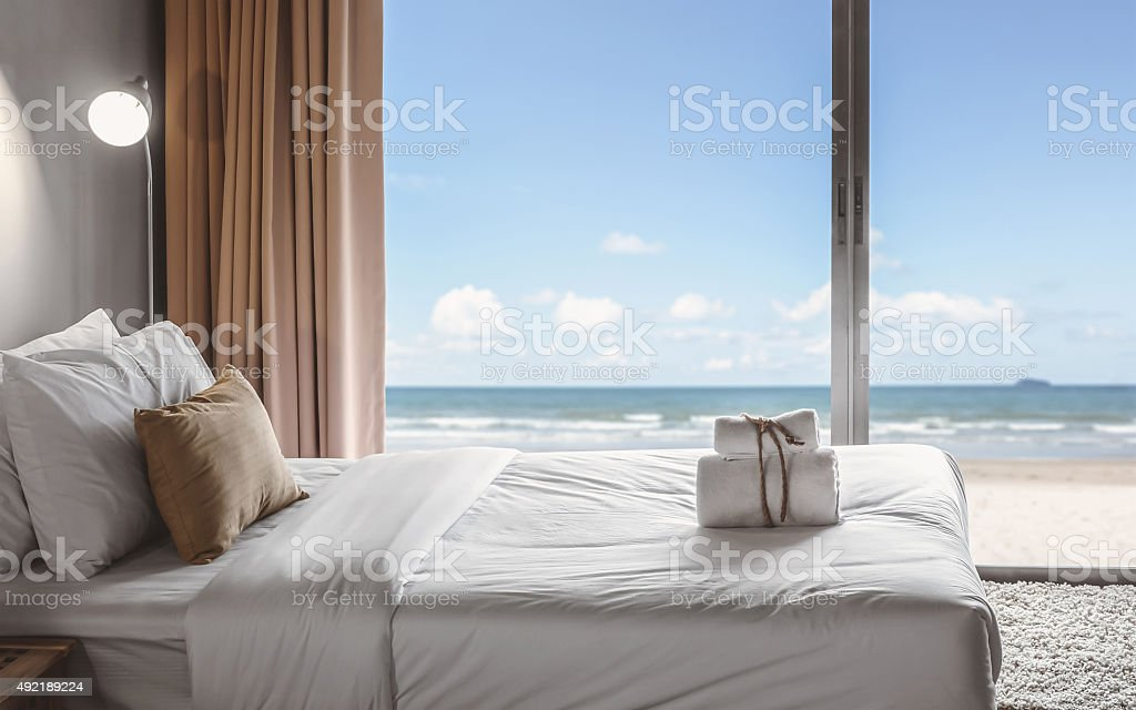 seaview bedroom stock photo