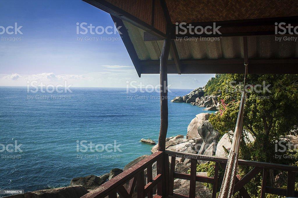 Seaview from bungalow in Koh Phangan stock photo