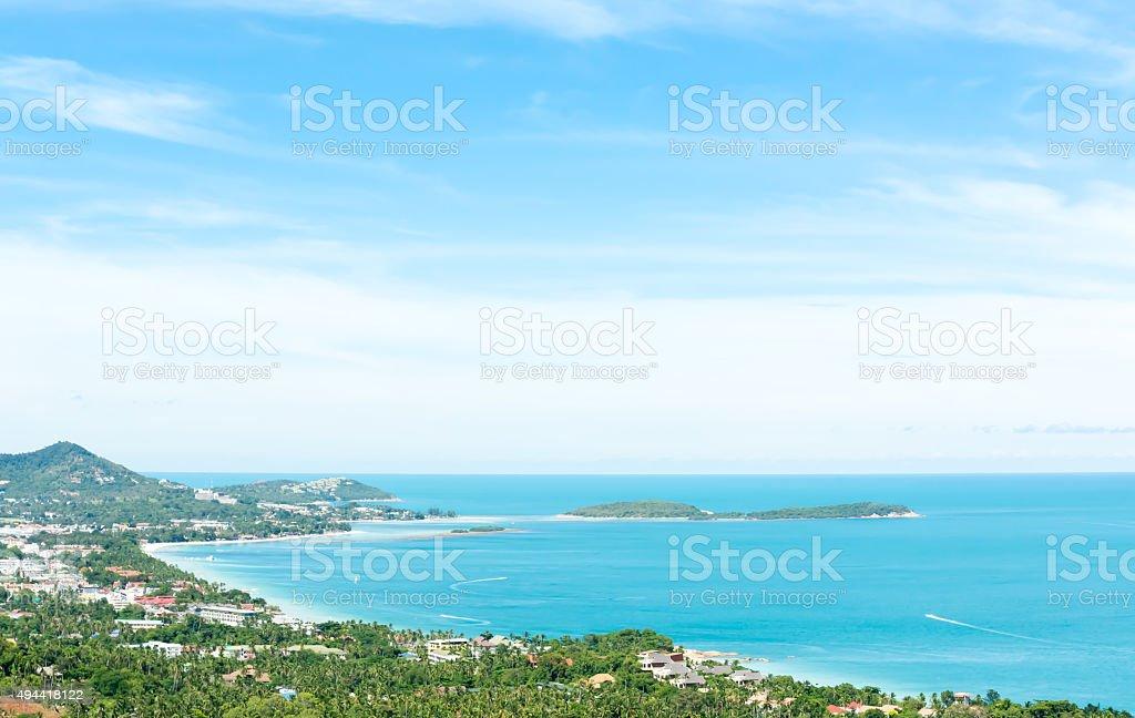 Seaview on the Chaweng beach, Samui island, Thailand stock photo