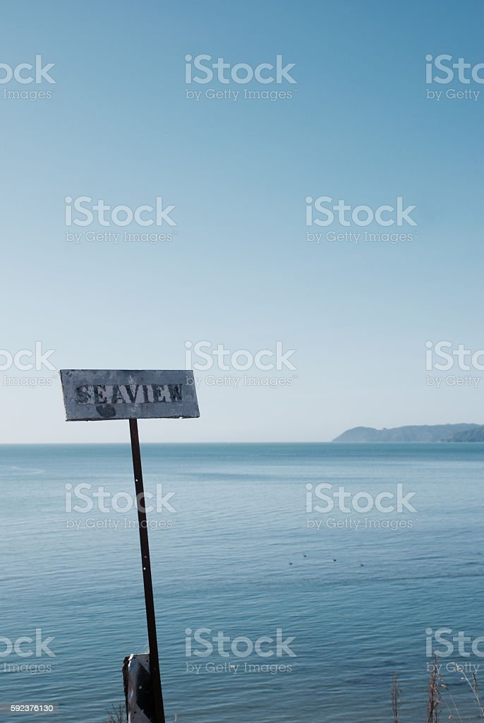 Seaview Sign and Sea View stock photo