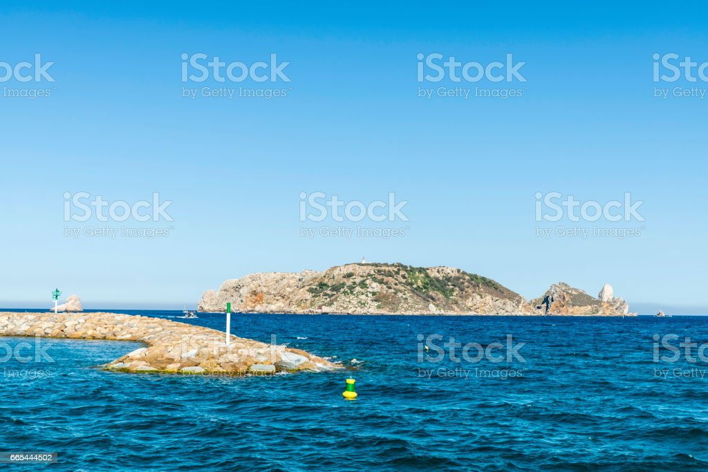 Seawall in the Medes islands at the Costa Brava, Spain stock photo
