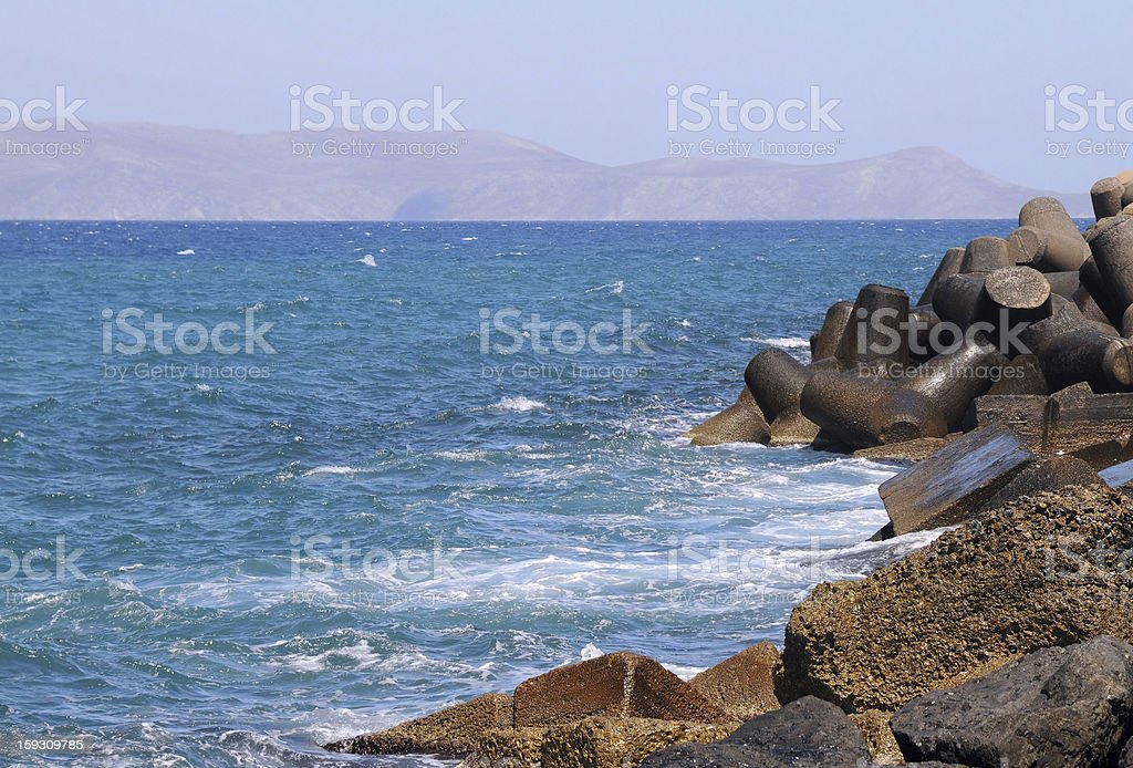 Seawall in the Port stock photo