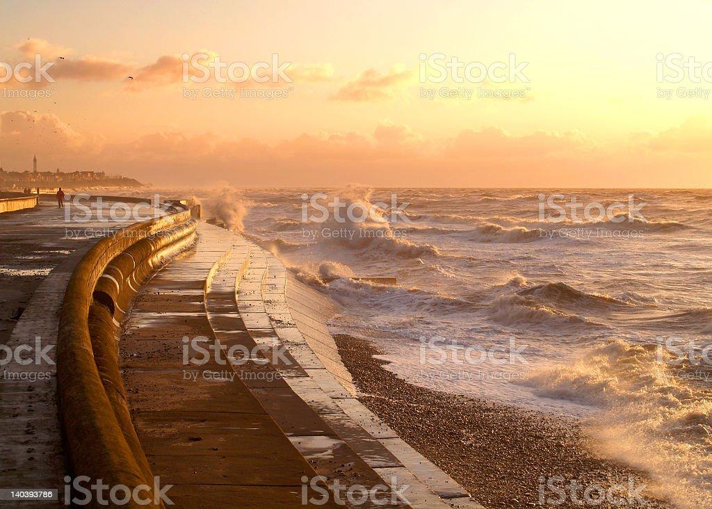 Sea-wall stock photo